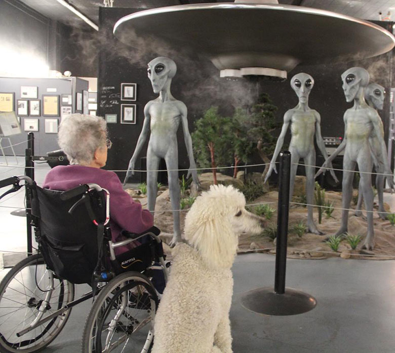 The International UFO Museum and Research Center and a dog