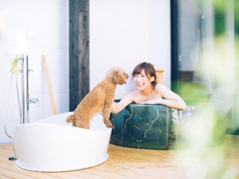 Bath with our without your dog. Image via D+Kirishima spa