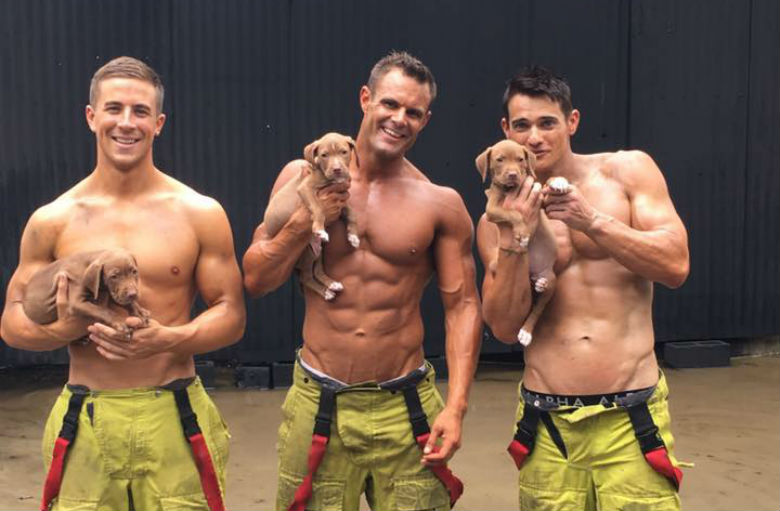 Firefighters and puppies