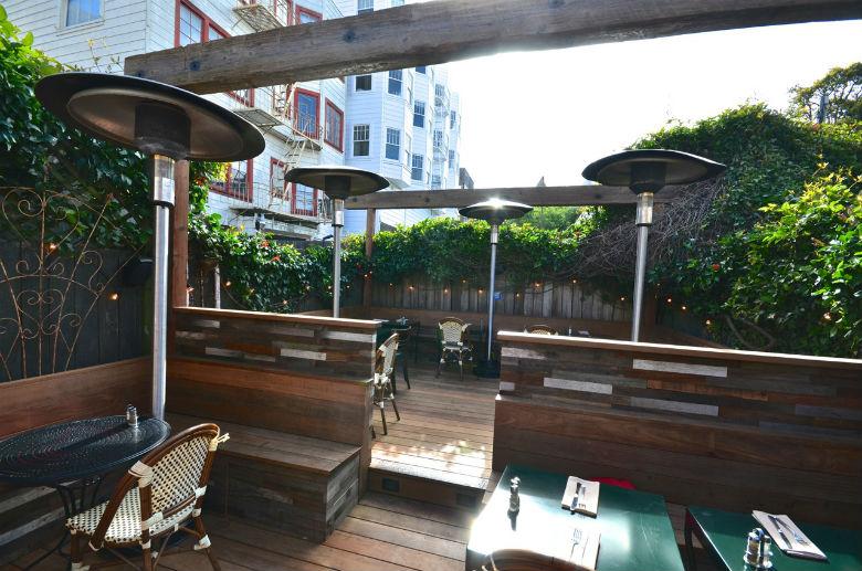 Zazie patio where you can enjoy wine with your dog