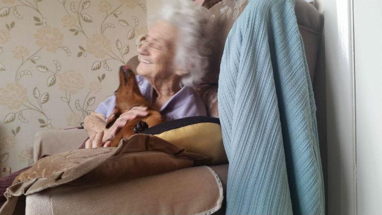 grandma and puppy