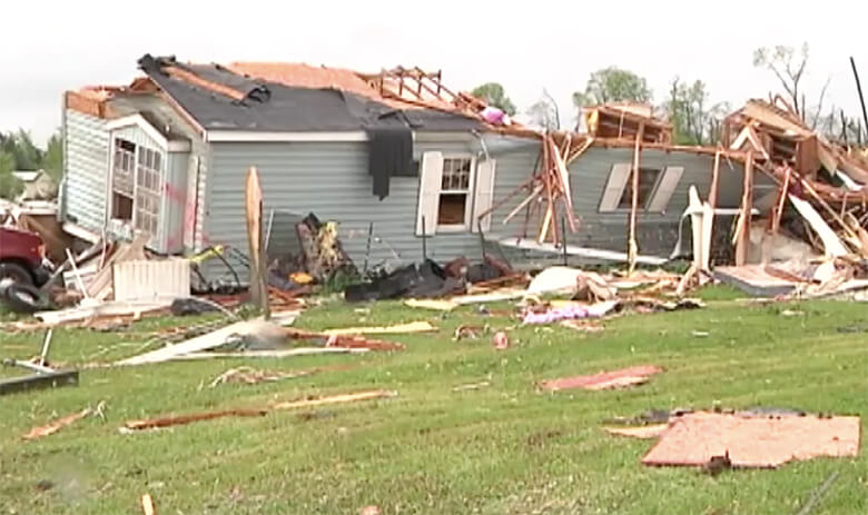Tornado strikes town in Wisconsin.