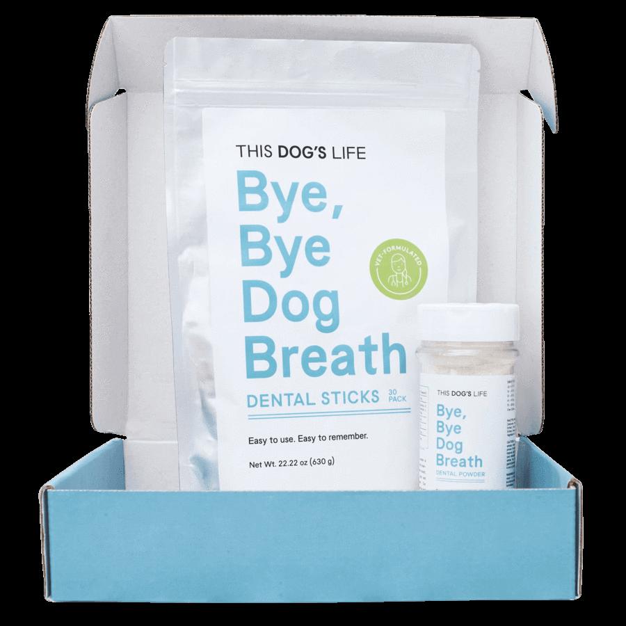 Bye Bye Dog Breath dental sticks and powder