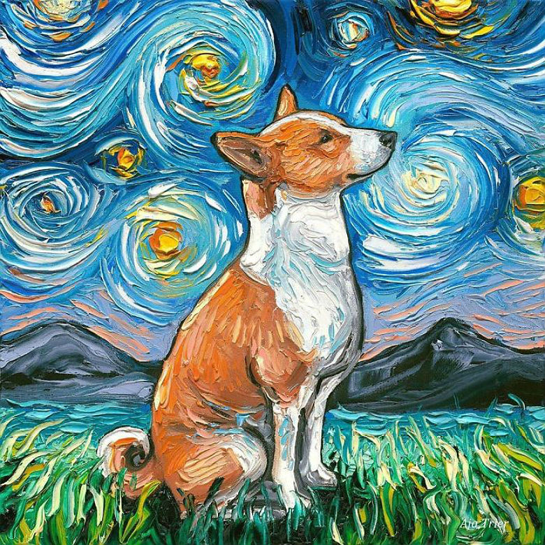 Artist Creates Entire 'Starry Night Dog' Series Inspired By Vincent Van Gogh
