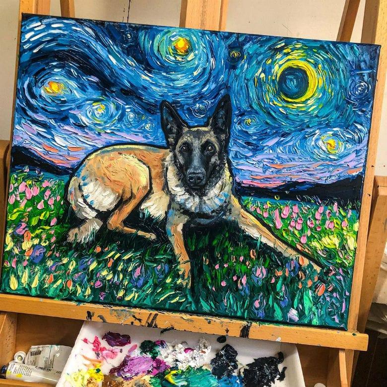 Malinois dog painting
