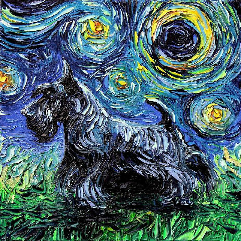 Schnauzer dog painting