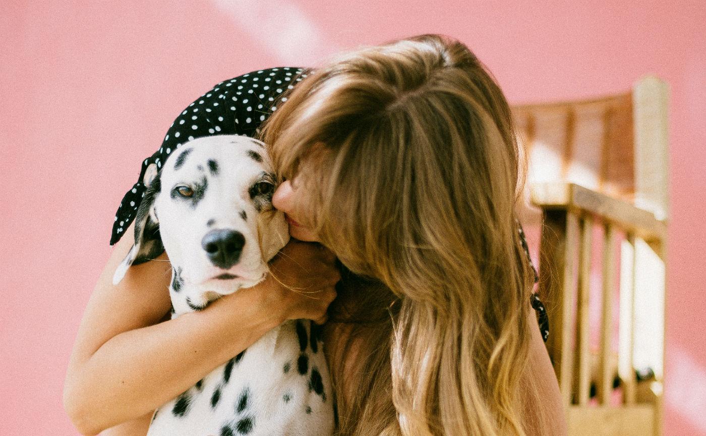 woman and Dalmatian