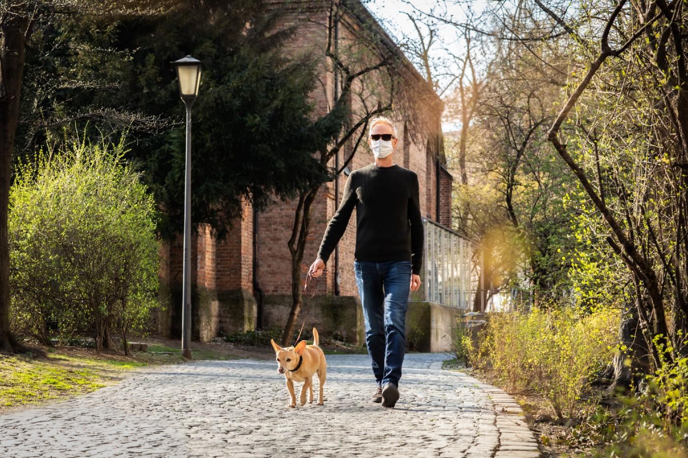 dog walker and mask