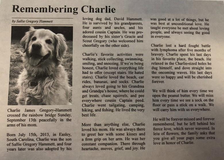 Woman Writes Obituary for Dog 1
